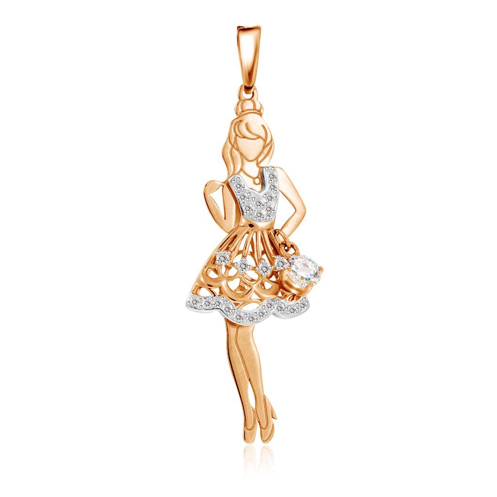Золотая подвеска с фианитами Девушка Д0268-035317 золотая подвеска с фианитами дерево д0268 035074