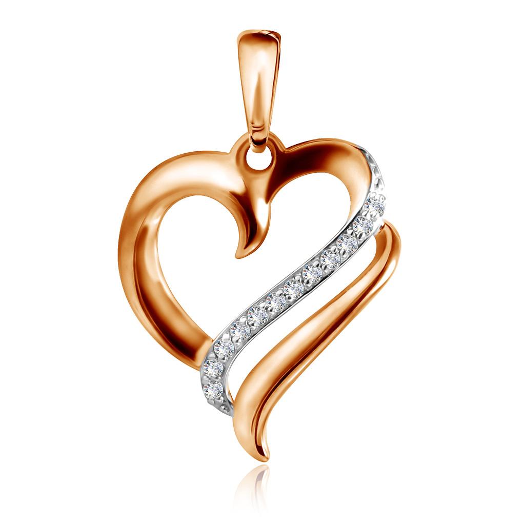 Подвеска из красного золота с фианитом Сердце Д0268-035085 золотая подвеска с фианитом сердце д0268 034996