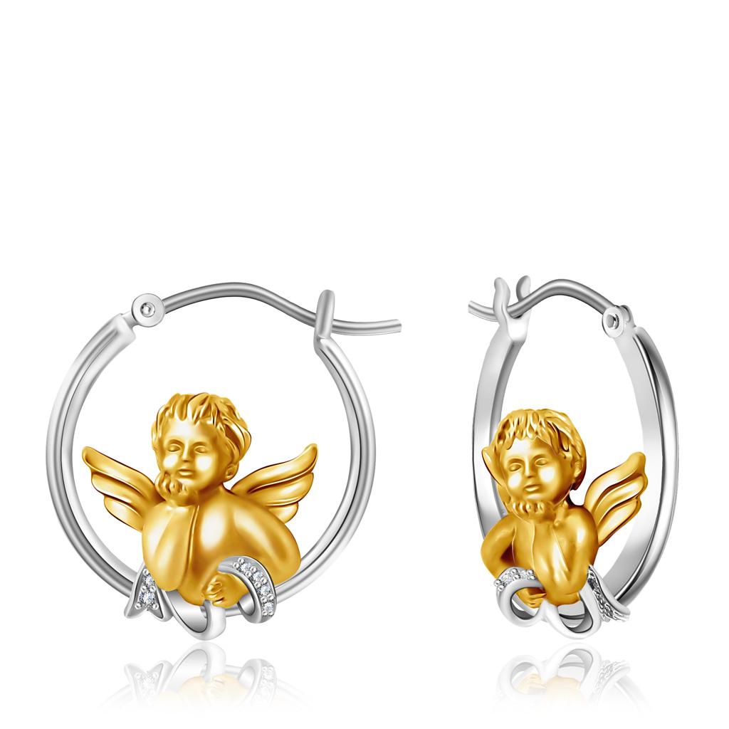 Серьги-кольца из золота с бриллиантами D0000735306000