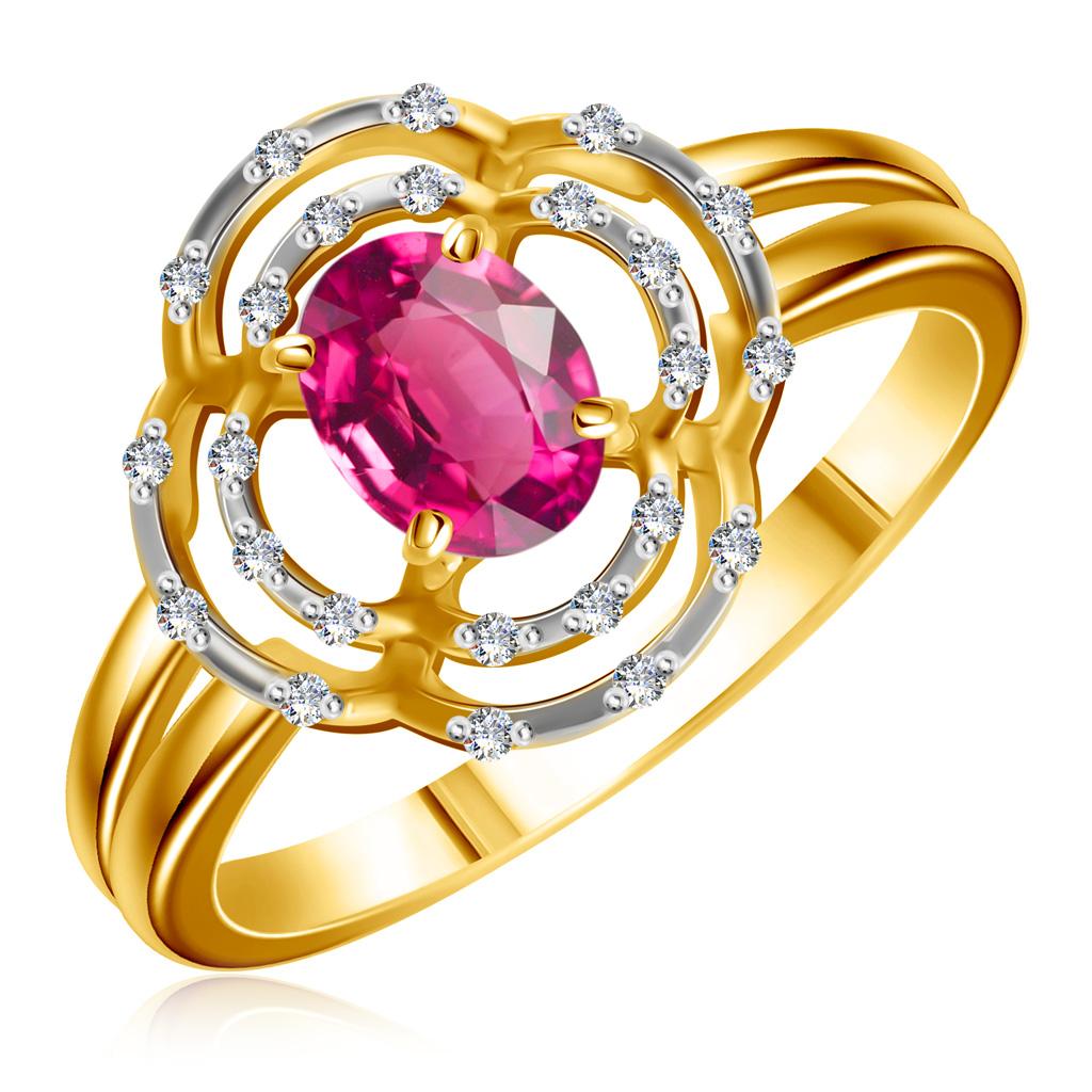 Купить со скидкой Кольцо из золота с рубином и бриллиантами 4010514