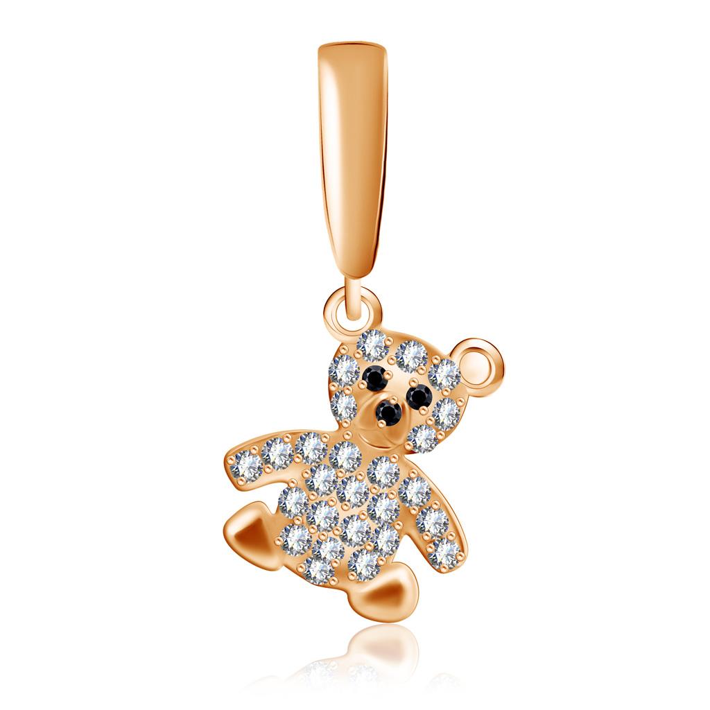 Купить со скидкой Подвеска детская Мишка из красного золота с фианитом ПК-26/23350.1ФШ.000