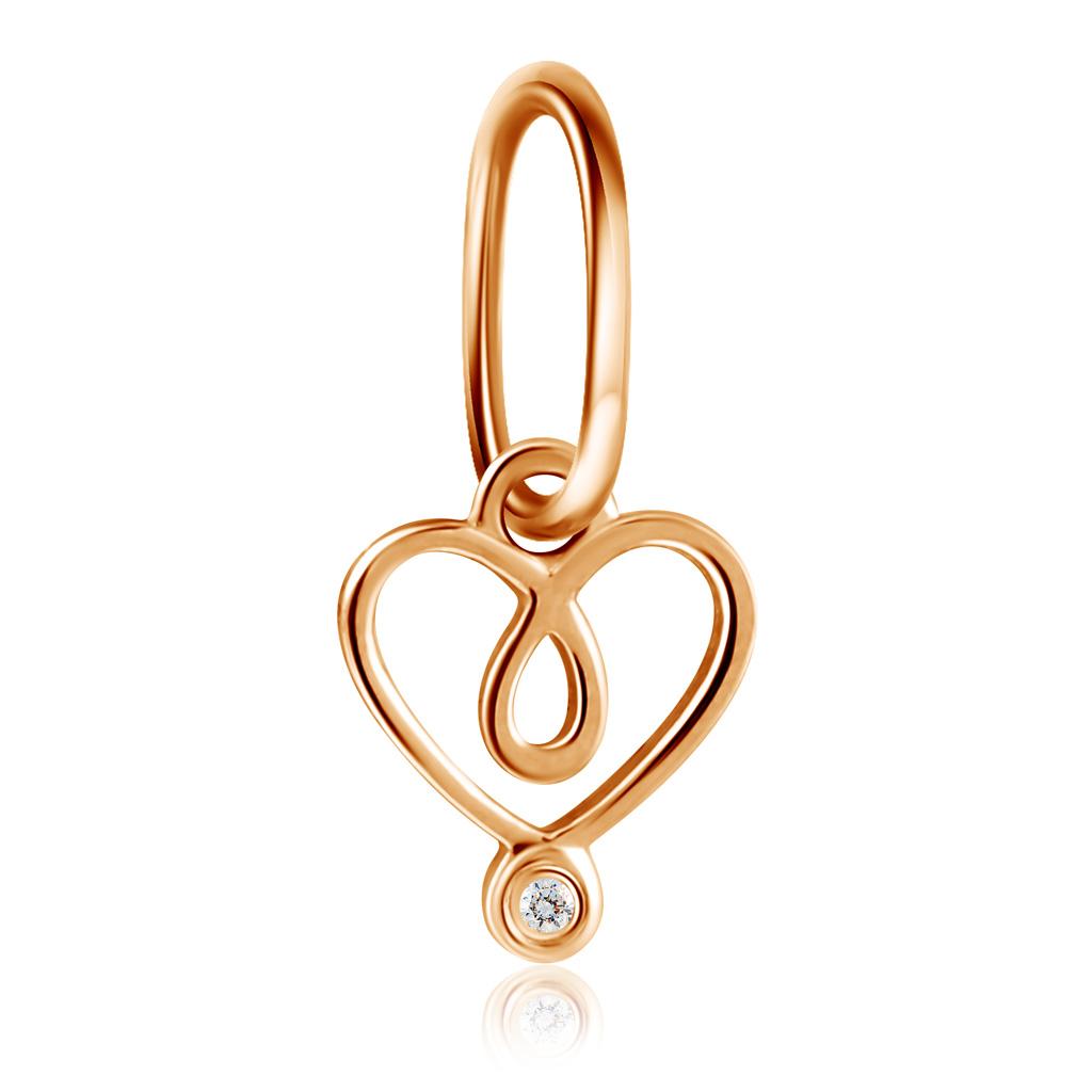 Подвеска Сердце детская из красного золота с бриллиантом 1000179053 подвеска сердце елка звезда металл золото в асс те