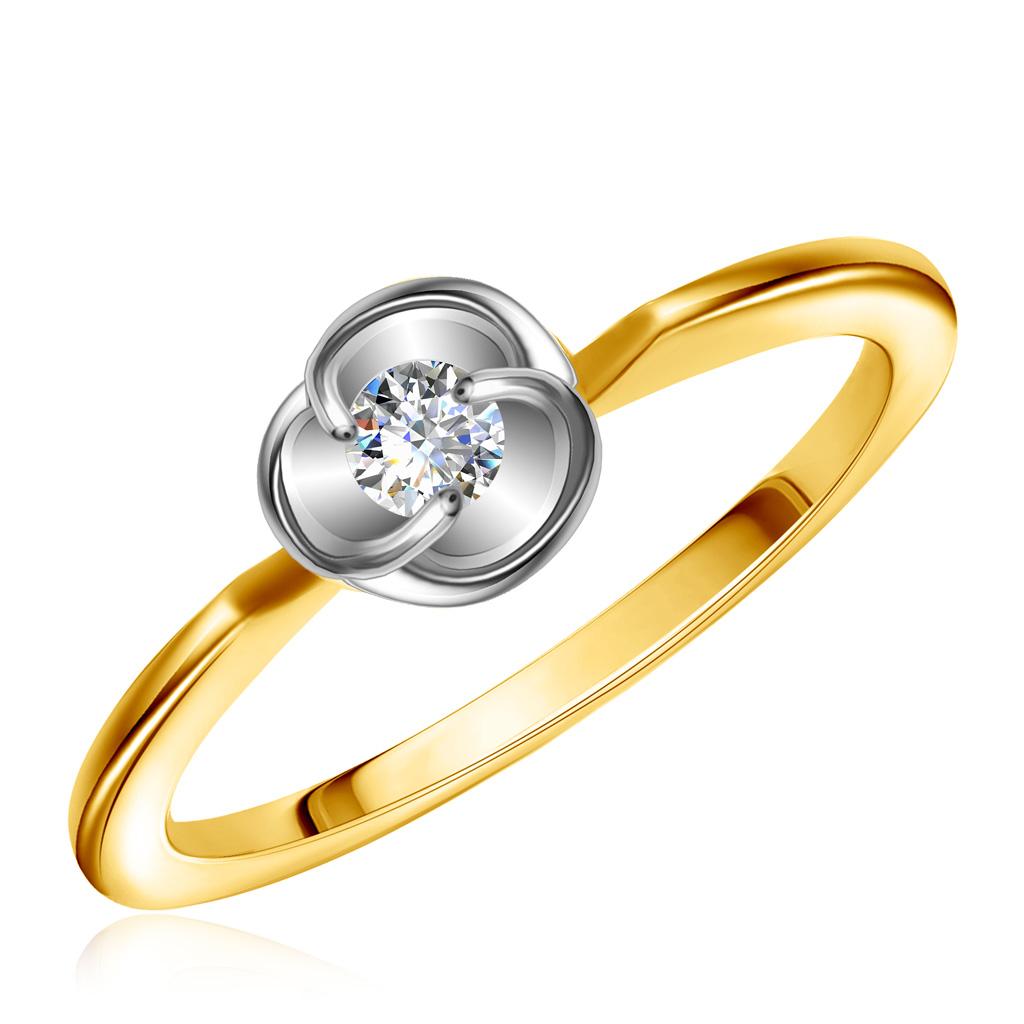 Кольцо из желтого золота с фианитом 25611391