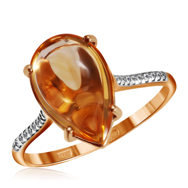 Кольцо с цитрином и фианитами из золота 713476
