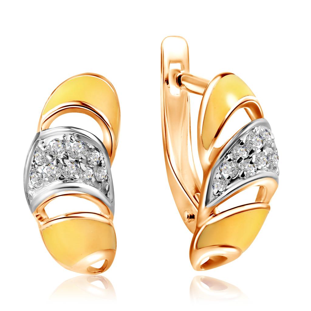 цена на Серьги из красного золота с фианитами и эмалью Круассан Д0268-8-020010