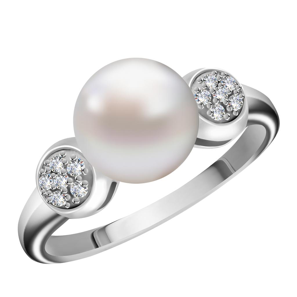 Кольцо с бриллиантами и жемчугом из белого золота R428-D-LRG14525PRR17