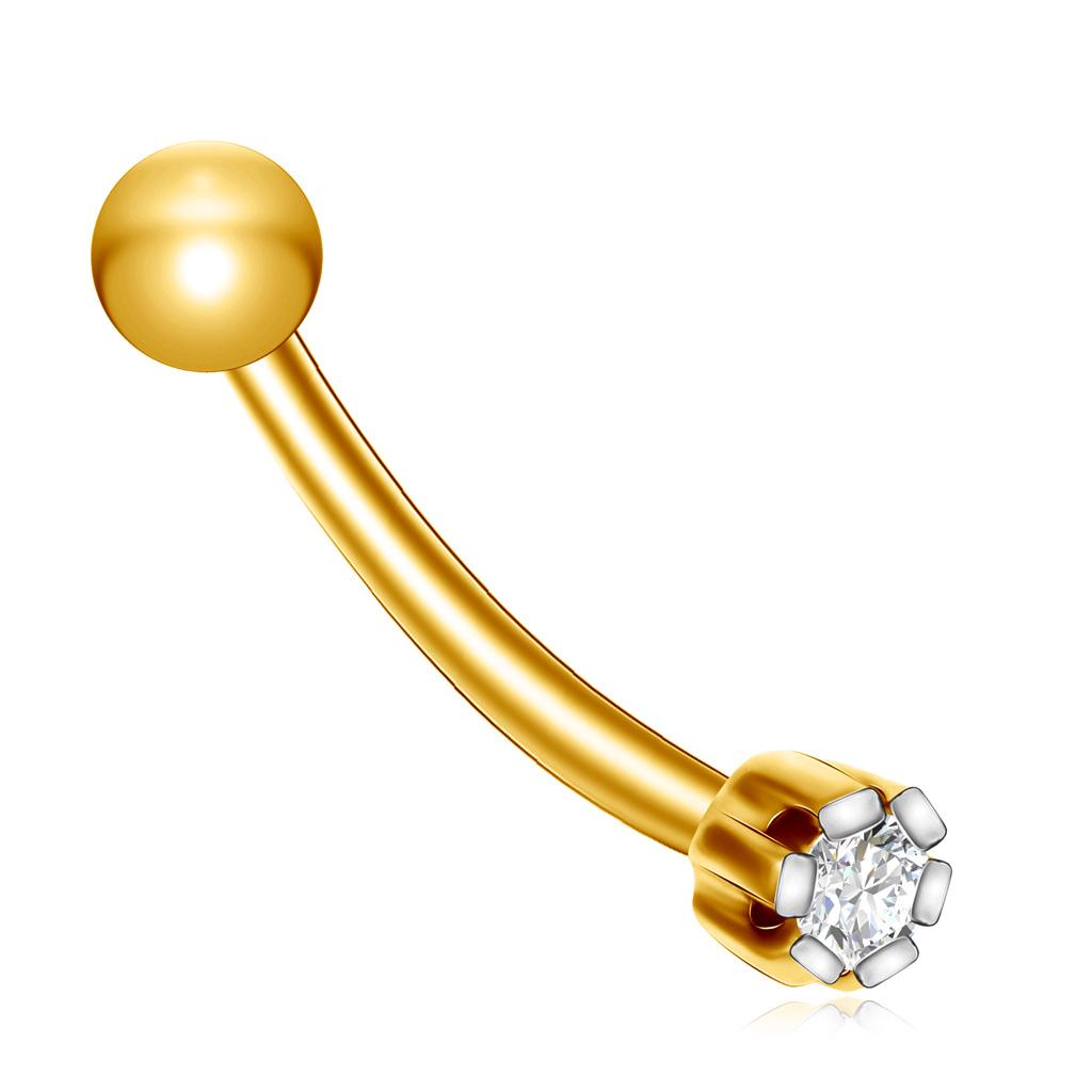 Купить со скидкой Пирсинг в нос с бриллиантом из золота 71002413
