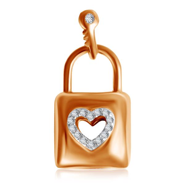 Купить Подвеска из красного золота с бриллиантами Сердце и Замок P462-D-BP31706R17