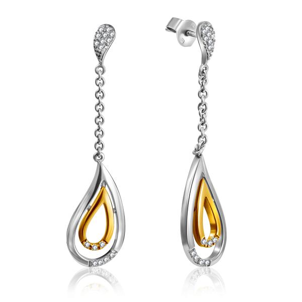 Купить Серьги-пусеты из желтого золота с бриллиантами 4JAN712