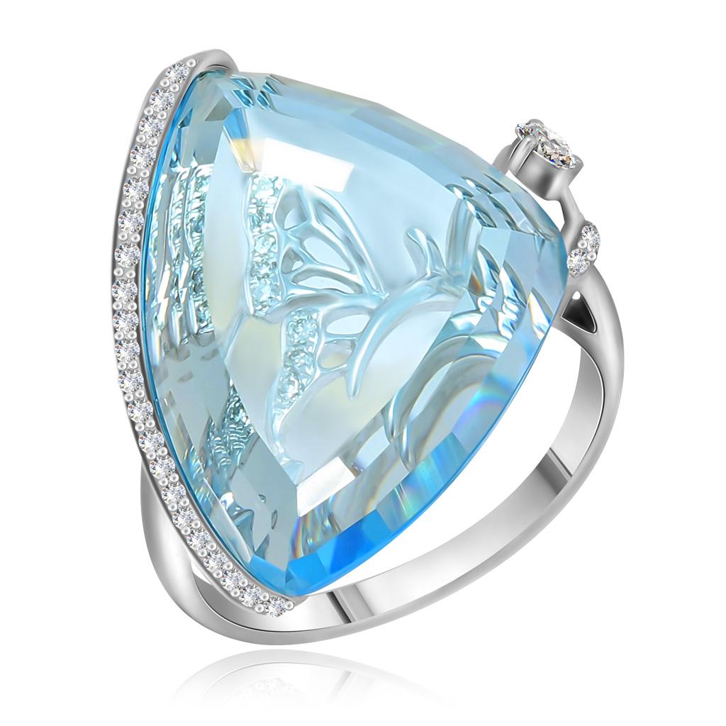 Кольцо из белого золота с топазом и бриллиантами HOR33643