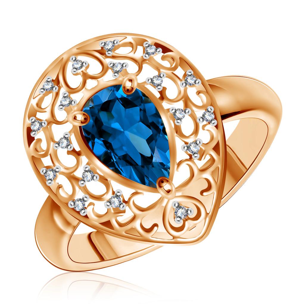 Кольцо с топазом золотое 713152