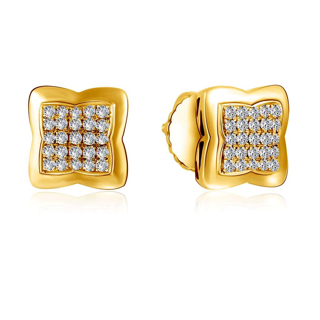 Серьги-пусеты из желтого золота с бриллиантами ALE335