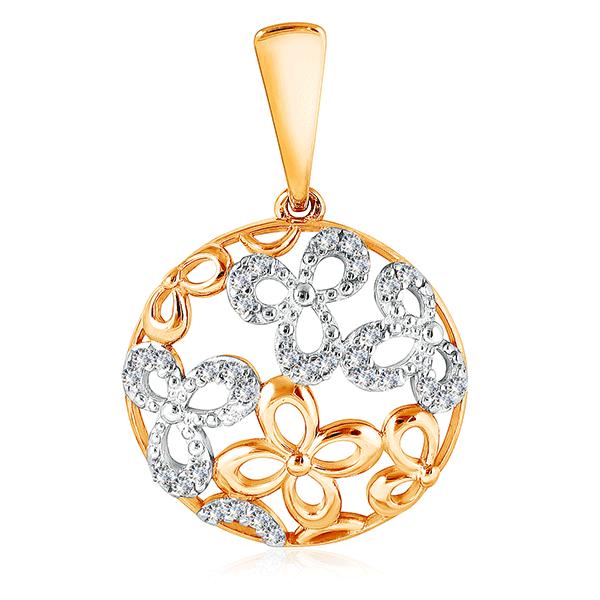 Подвеска из золота 3-2677Подвески из красного золота<br>Артикул: 3-2677 Металл: Золото Au 585 Вставка: Фианит<br><br>Артикул: 3-2677<br>Металл, проба: Золото<br>Цвет металла: Красный<br>Вставка: Фианит