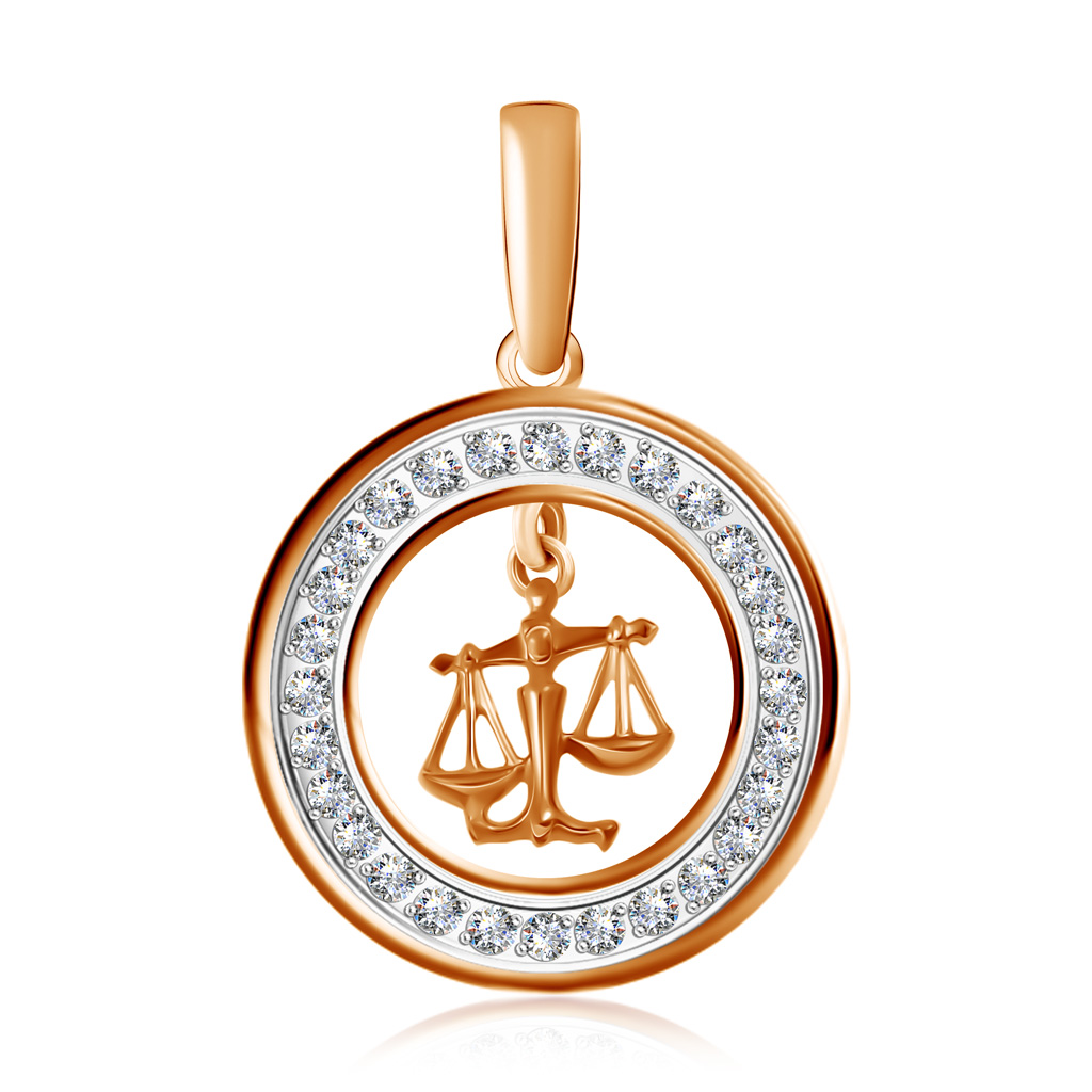 Подвеска знак зодиака Весы из золота с фианитами 27611191007