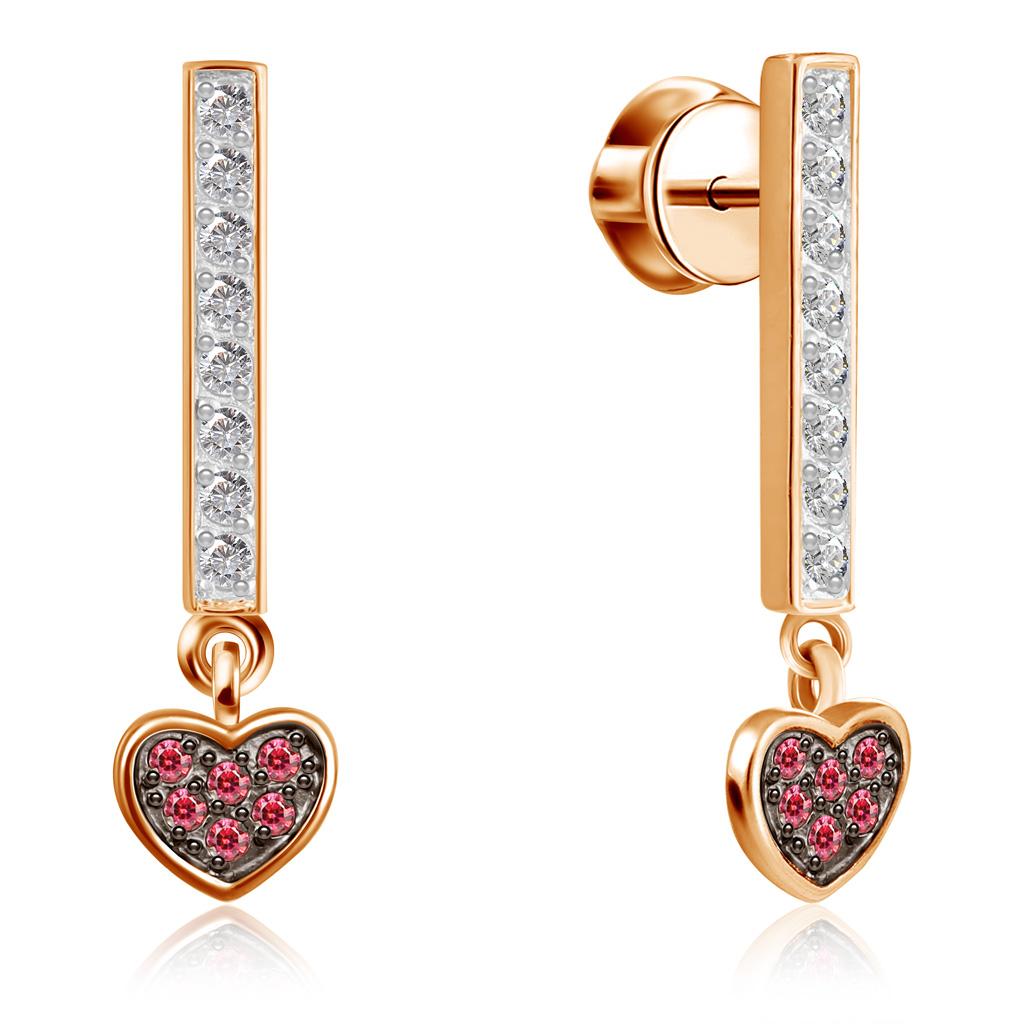 Купить со скидкой Пуссеты из красного золота с фианитами Первая любовь Д0268-8-020016