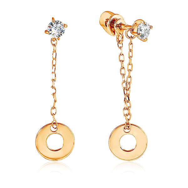 Серьги-гвоздики с фианитами из золота 026848