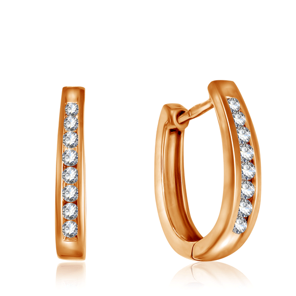 Купить Серьги-кольца Конго из золота с бриллиантами 4J1776