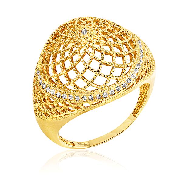 Кольцо с фианитами из желтого золота 551001