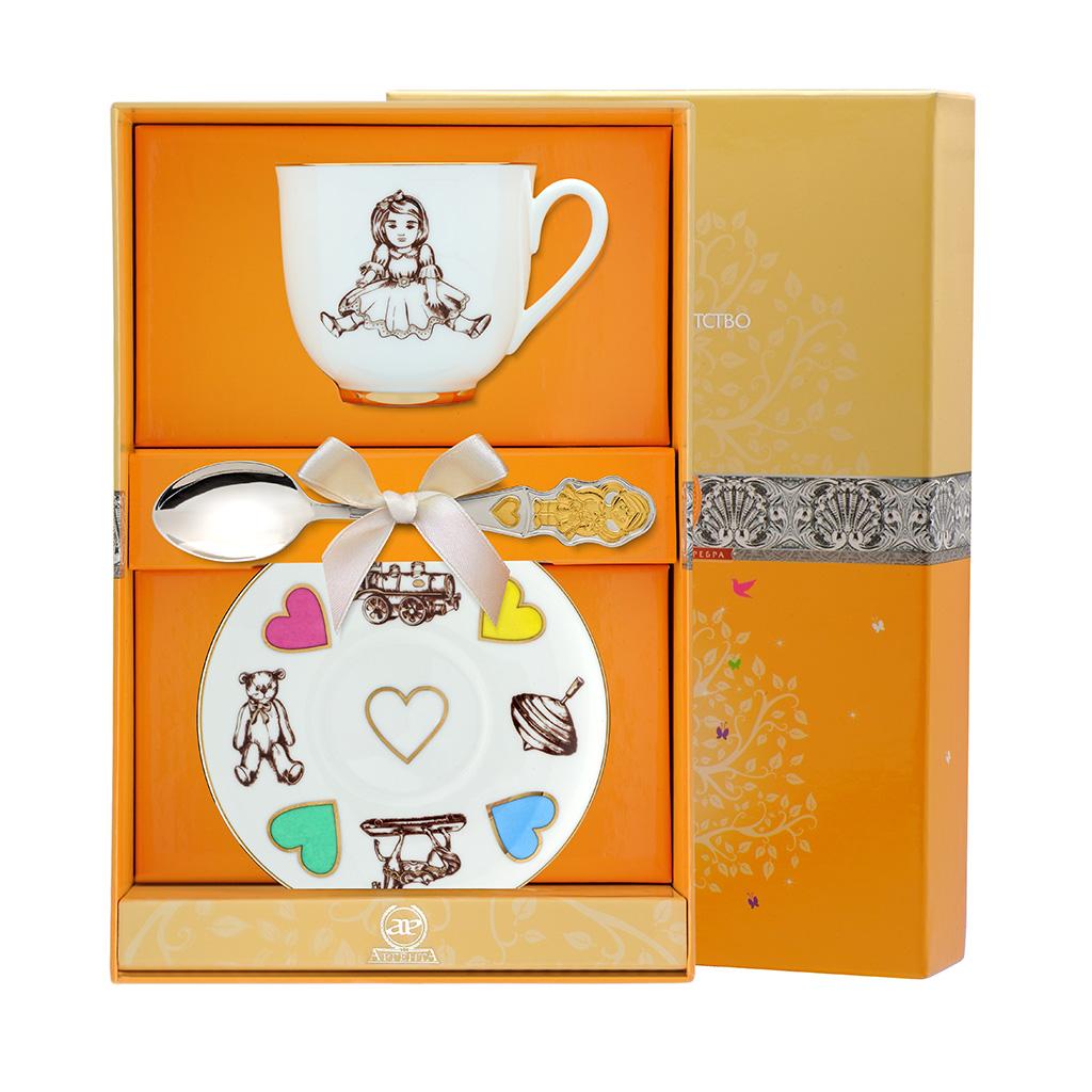 Детский серебряный набор из чашки, блюдца и ложки Девочка 033Ф05