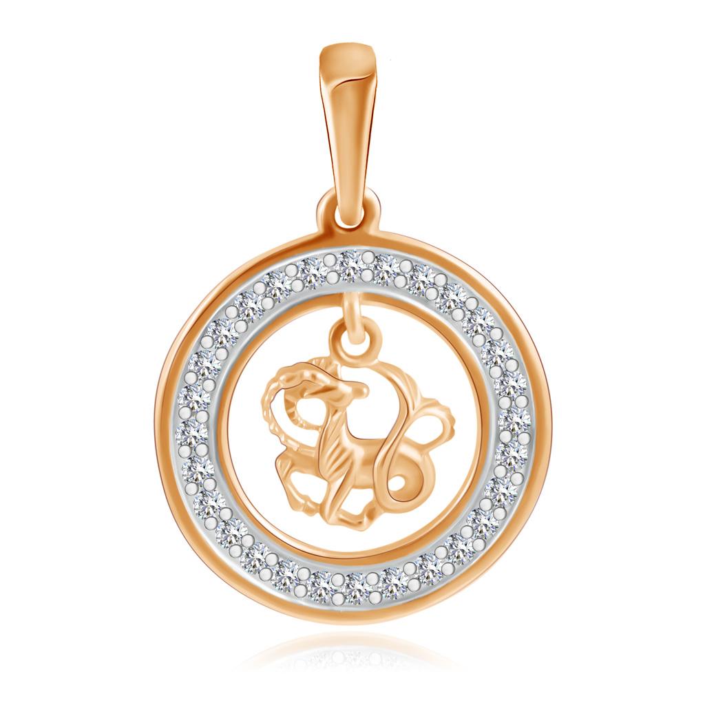 Купить со скидкой Подвеска знак зодиака Козерог из золота с фианитами 27611191010