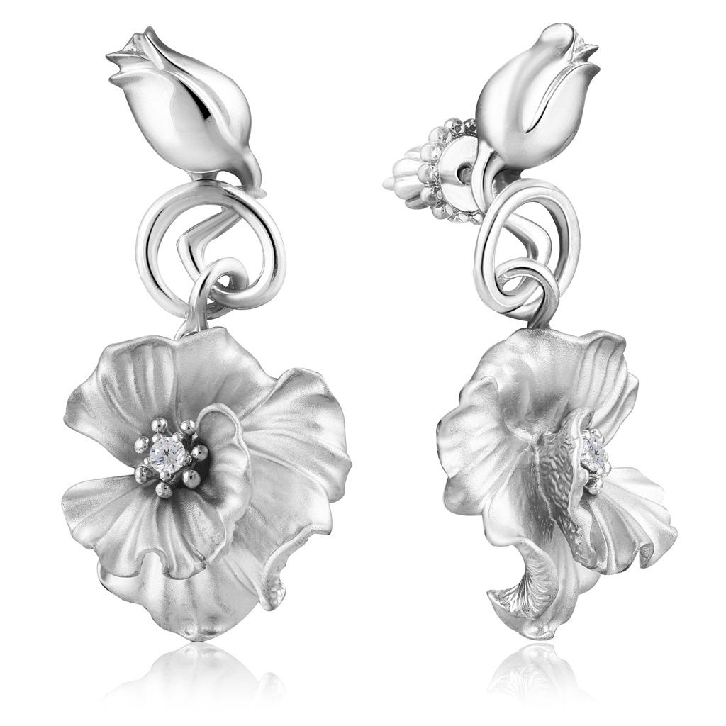 Купить Серьги-пуссеты из серебра Цветы С 23360