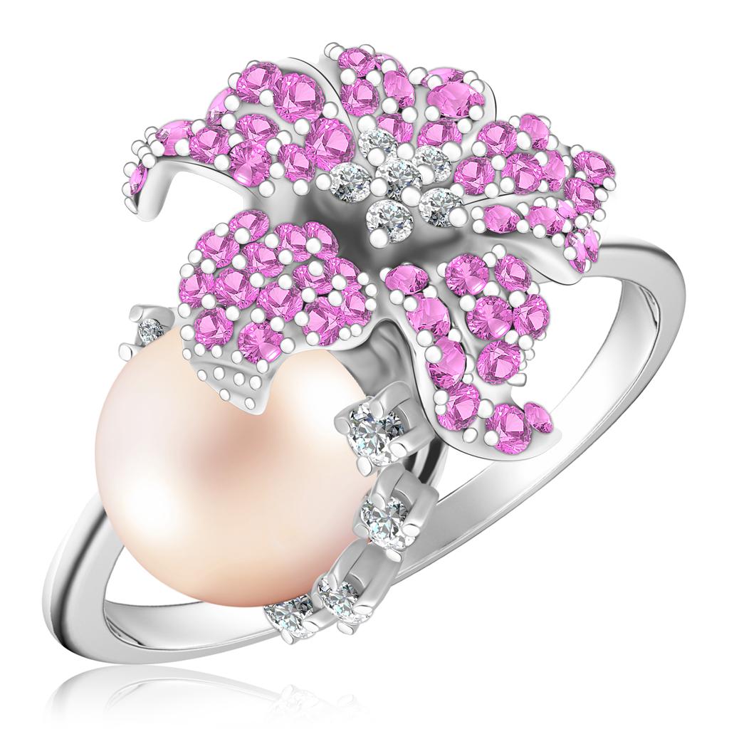 Золотое кольцо с бриллиантами, сапфирами и жемчугом R457-D-LR6935PS