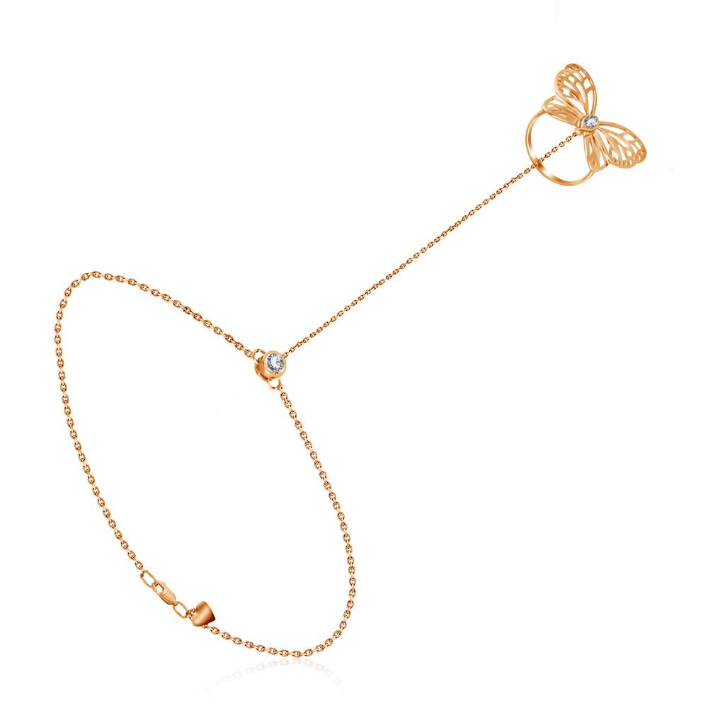 Купить со скидкой Золотой слейв браслет с фианитами 050871
