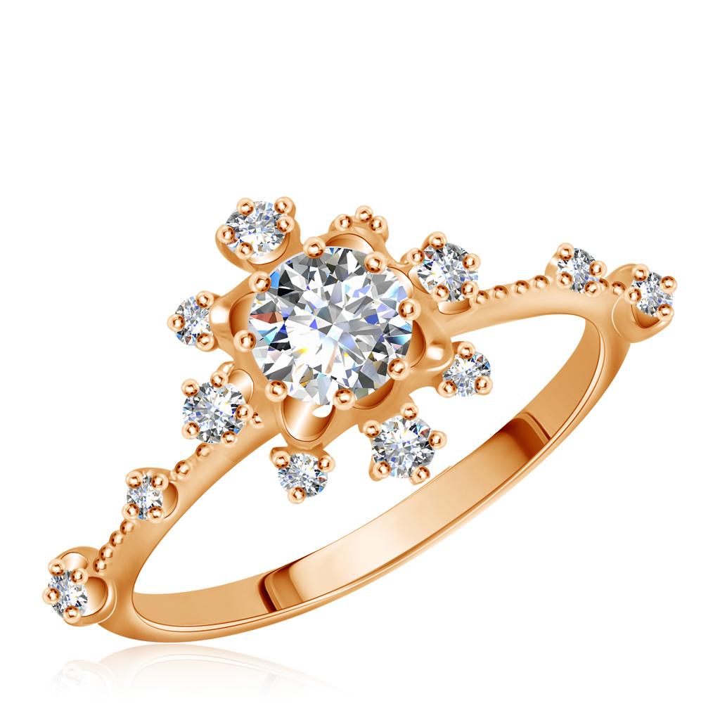 Кольцо золотое с фианитами 15611332