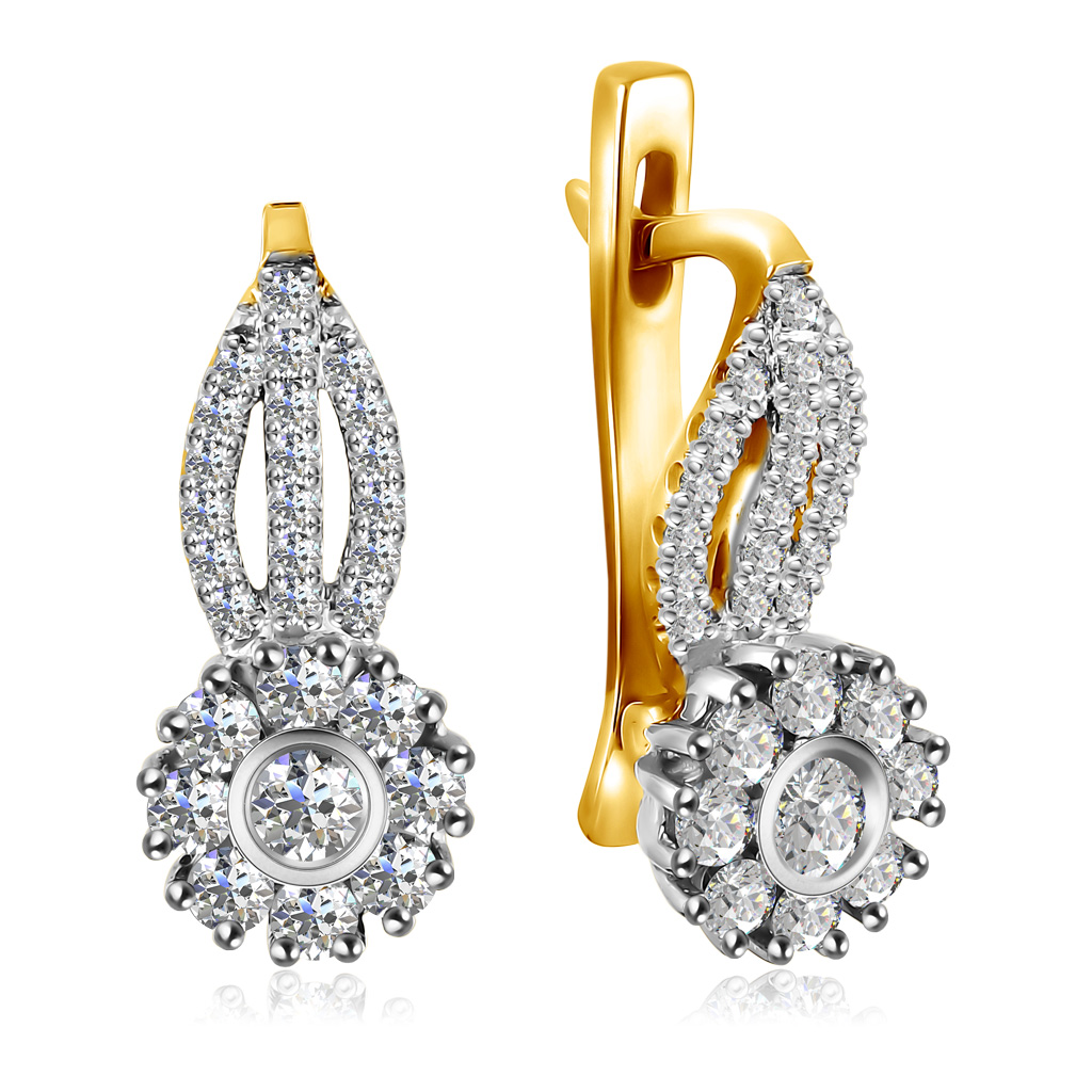 Серьги из желтого золота с бриллиантами 02С075-01