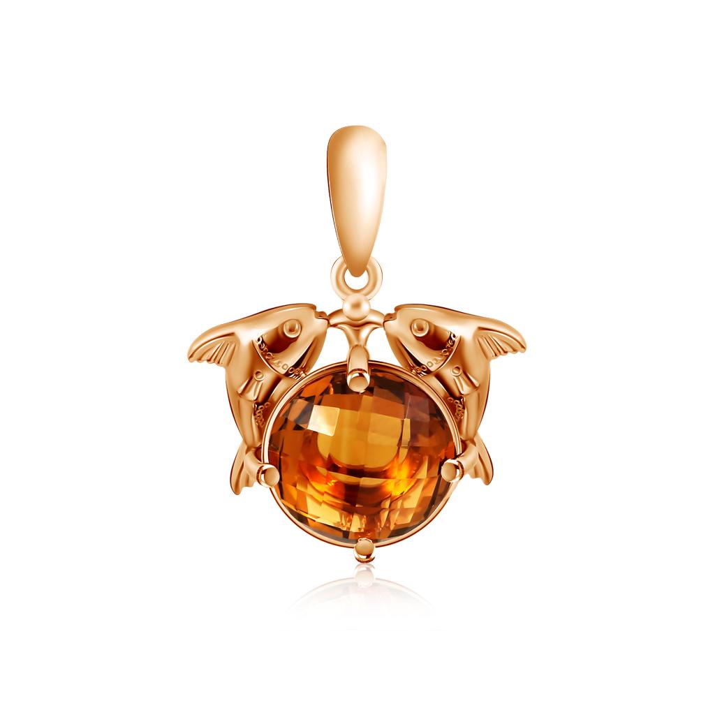 Золотой кулон знак зодиака Рыбы 01Д318203