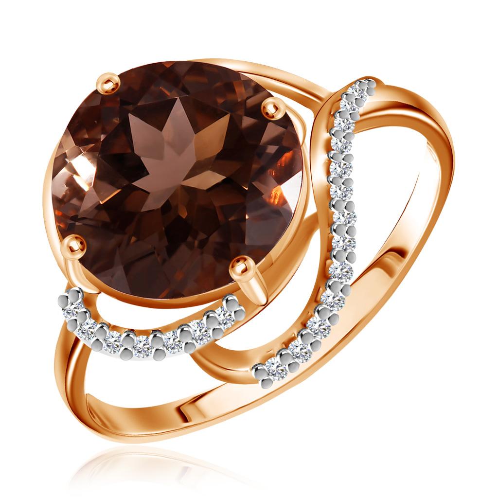 Золотое кольцо с раухтопазом 712219 кольцо серебро с раухтопазом родник скнрт 8460