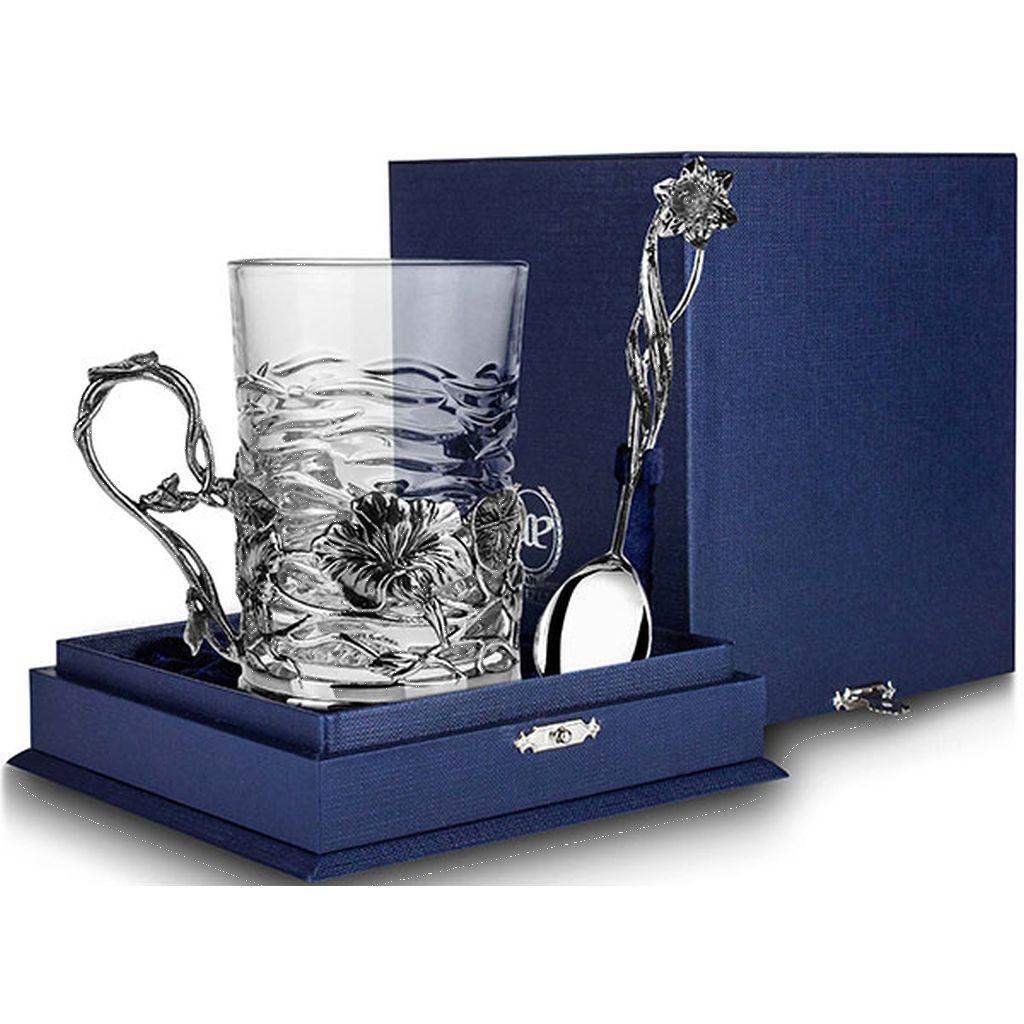 Чайный набор из серебра «Настурция» 837НБ03806