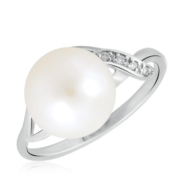 Купить со скидкой Кольцо с жемчугом и бриллиантами из белого золота 5161897