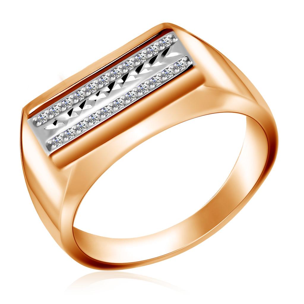 Золотая мужская печатка с фианитами 01Т163611