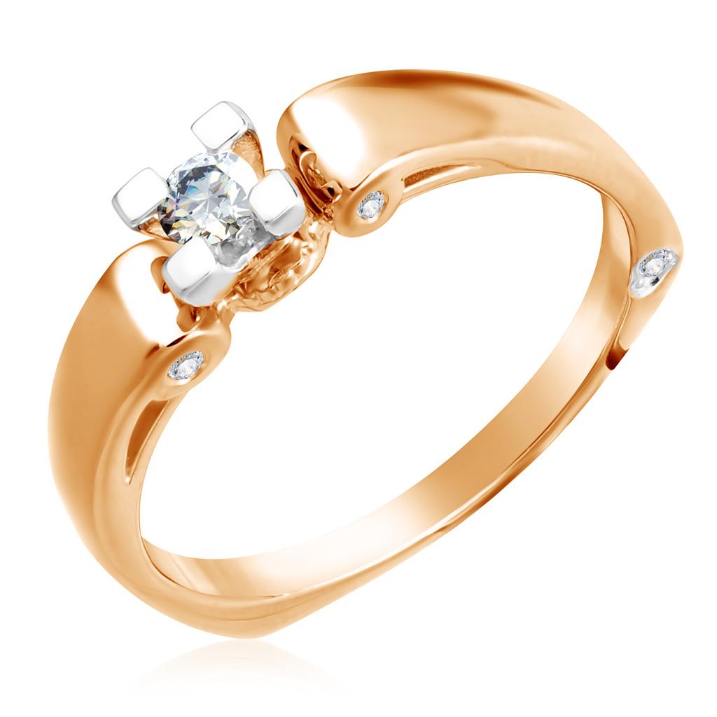 Кольцо из золота 1011675Кольца из красного золота<br>Артикул: 1011675 Металл: Золото Au 585 Вставка: Бриллиант<br><br>Артикул: 1011675<br>Металл, проба: Золото<br>Цвет металла: Красный<br>Вставка: Бриллиант