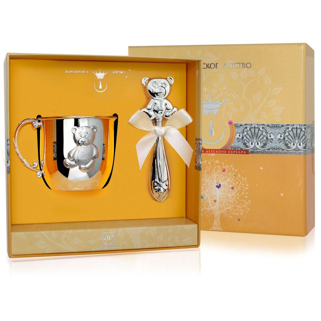 Детский набор из серебра «Мишка» с погремушкой РИ70НБ05801