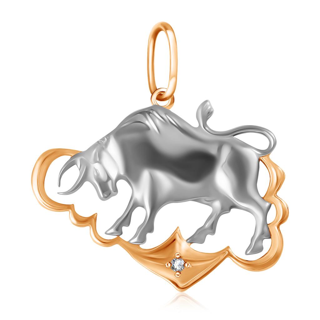 Подвеска знак зодиака Телец с фианитом из золота R7011989002