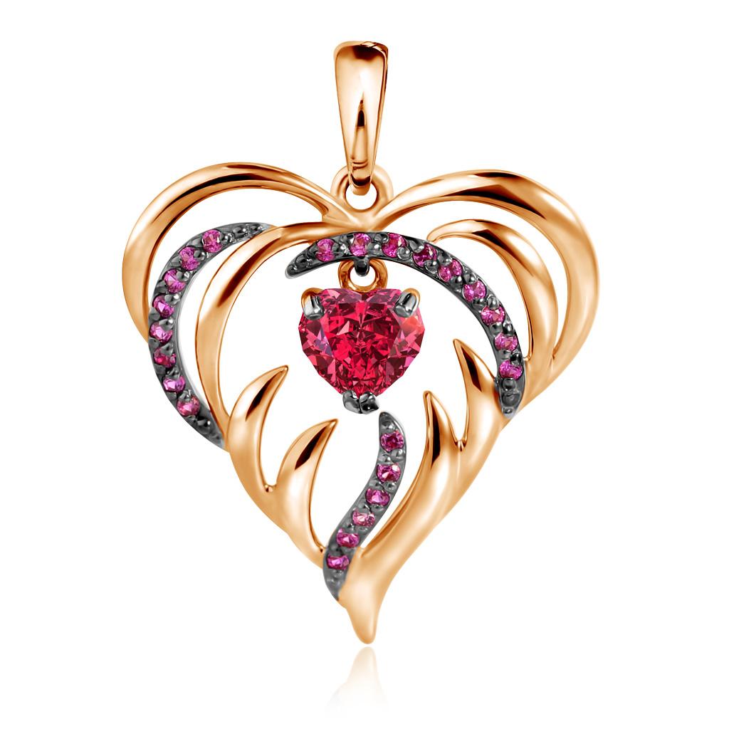 Подвеска из красного золота с фианитами Пламенное сердце Д0268-035081 золотая подвеска с фианитами дерево д0268 035074