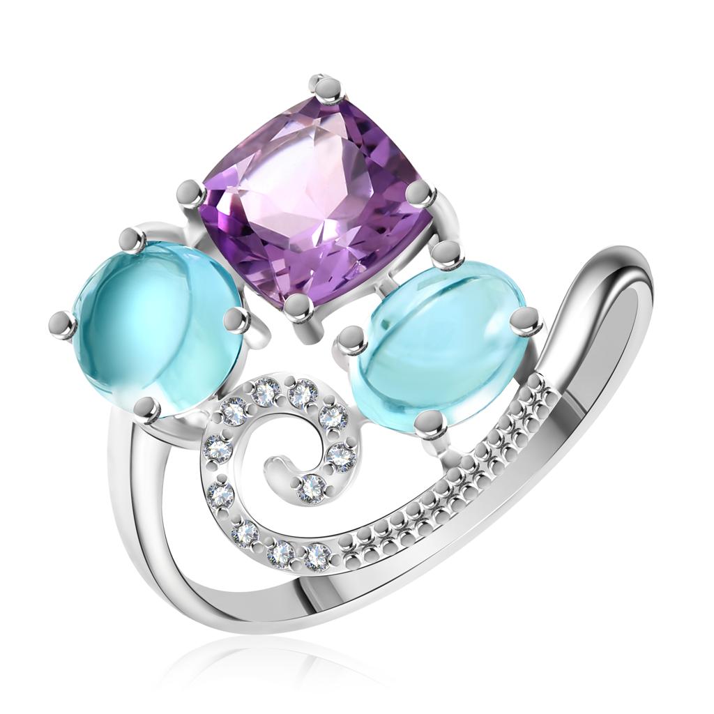 Золотое кольцо с топазами, аметистом и бриллиантами RD0000096305 золотое кольцо с топазами аметистом и бриллиантами rd0000096305