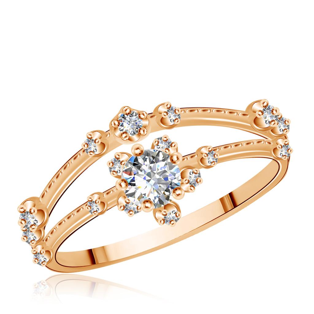 Кольцо золотое с фианитами 15611337