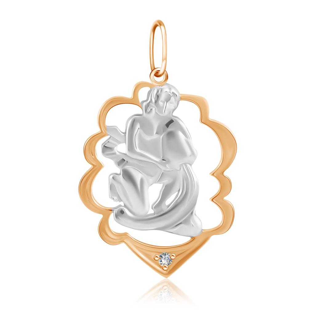 Подвеска знак зодиака Водолей из золота с фианитом R7011989011 подвеска водолей c фианитом из красного золота 1200236066