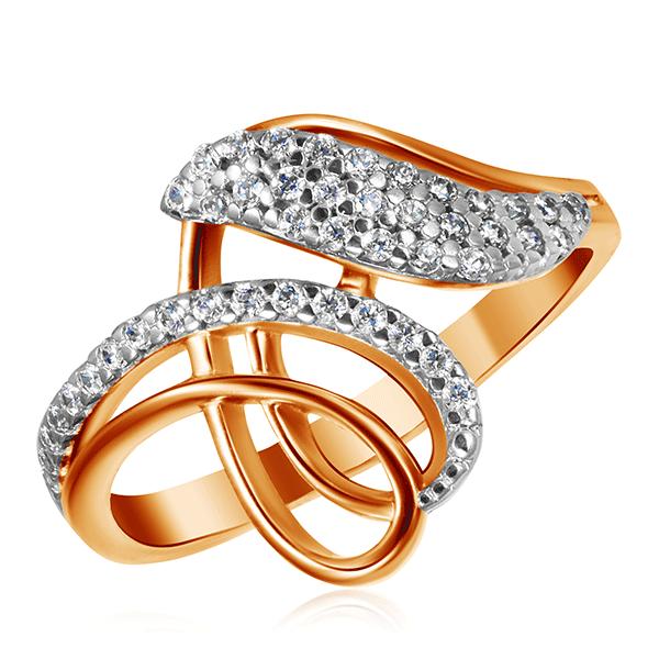 Золотое кольцо с фианитами 014888