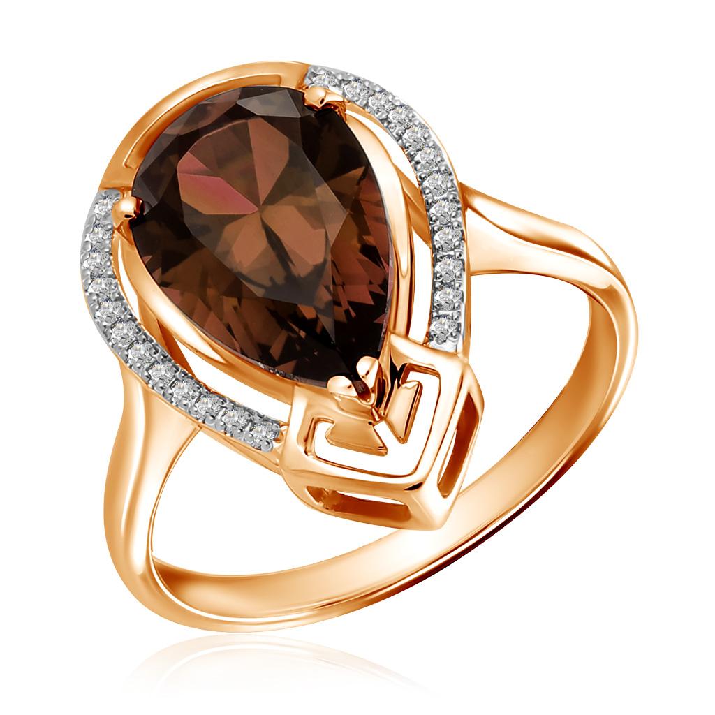 Золотое кольцо с раухтопазом 713448 кольцо серебро с раухтопазом родник скнрт 8460