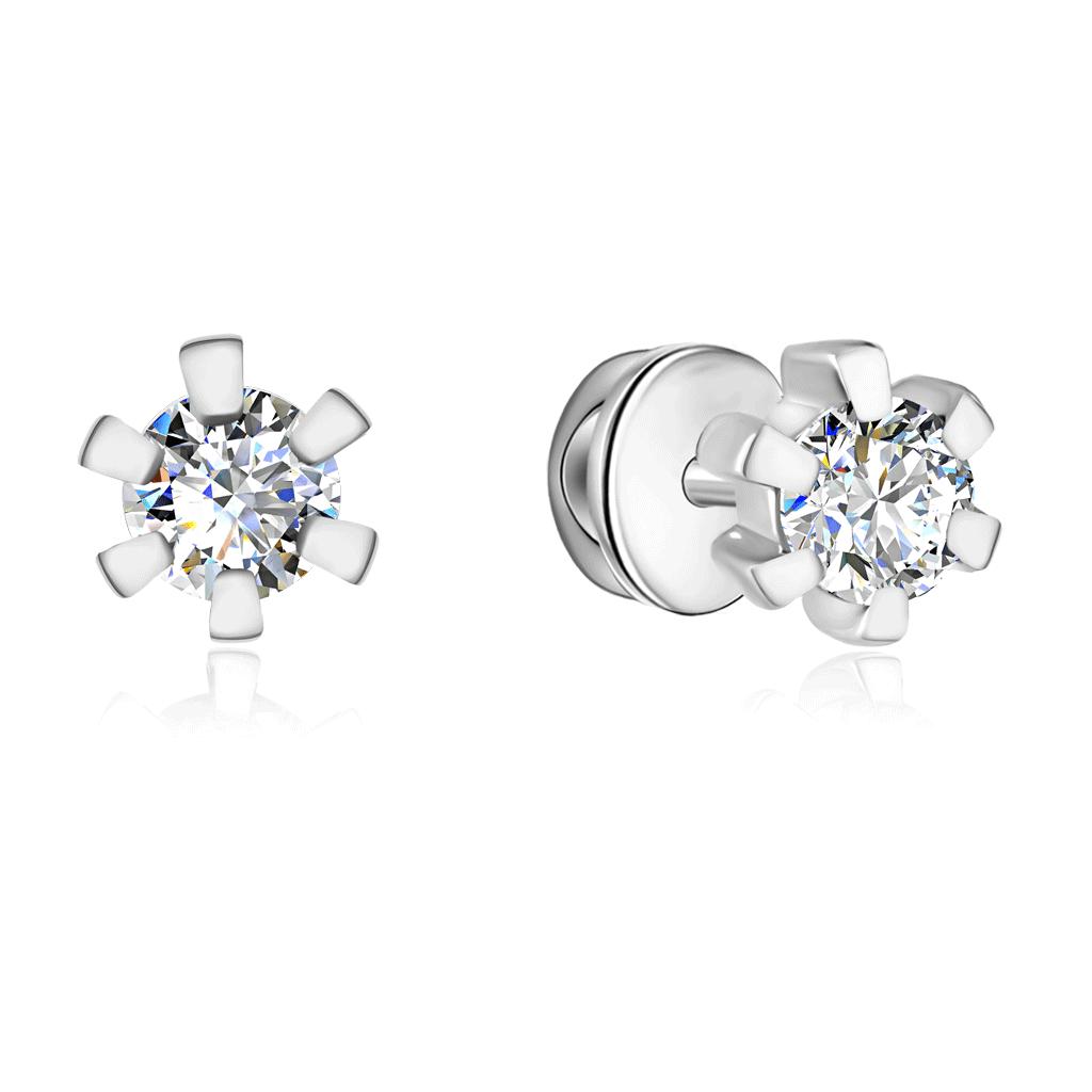 Серьги-гвоздики из белого золота с бриллиантами 66119665000 асимметричные серьги гвоздики из золота