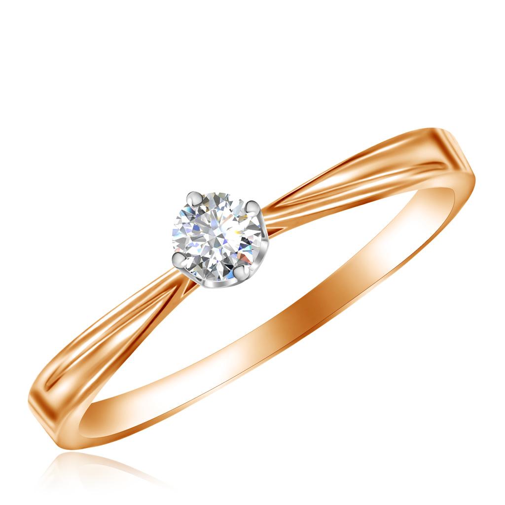 Кольцо из красного золота с бриллиантом 1013129888