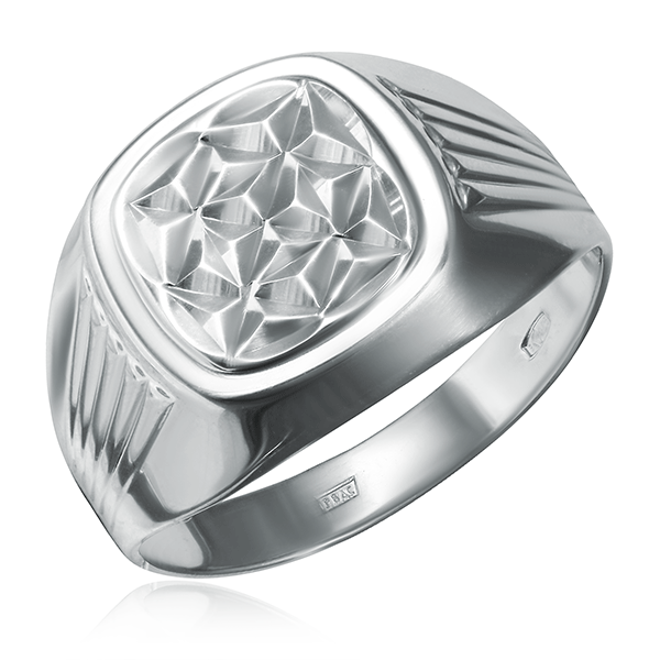 Серебряная мужская печатка без камней 94011236