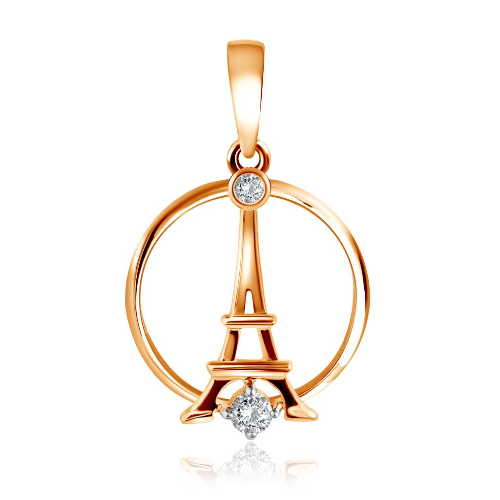 Подвеска из красного золота с фианитами Эйфелева башня Д0268-8-030004 золотая подвеска с фианитами дерево д0268 035074