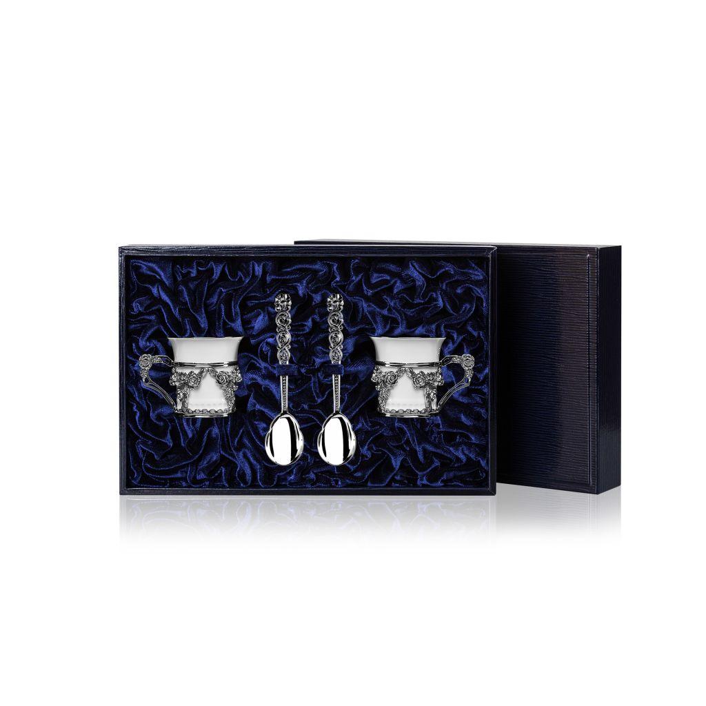 Чайный набор из серебра Роза, 4 предмета 799НБ07806 столовое серебро аргента набор чайный сад византия 3 предмета футляр