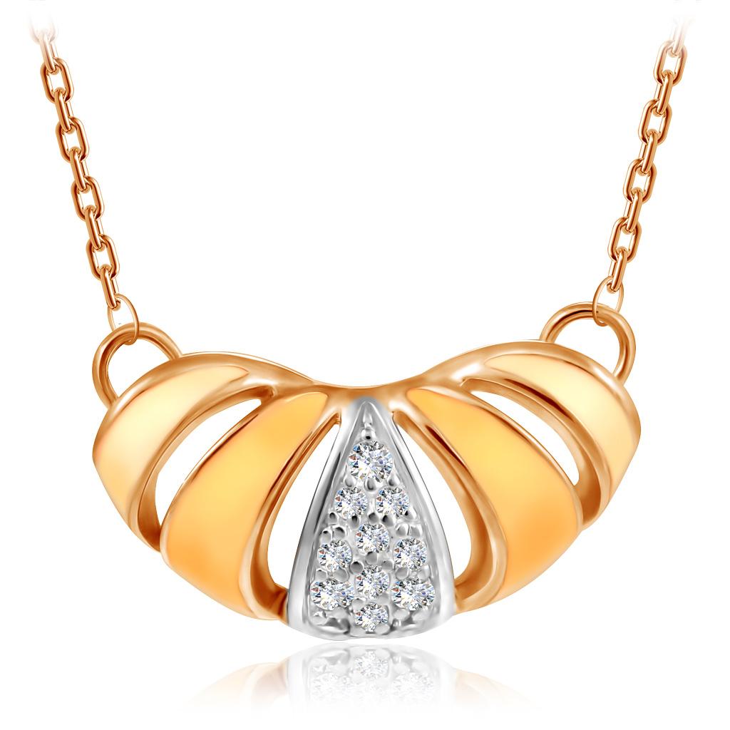 Купить со скидкой Колье из красного золота с фианитами и эмалью Круассан Д0268-8-070006