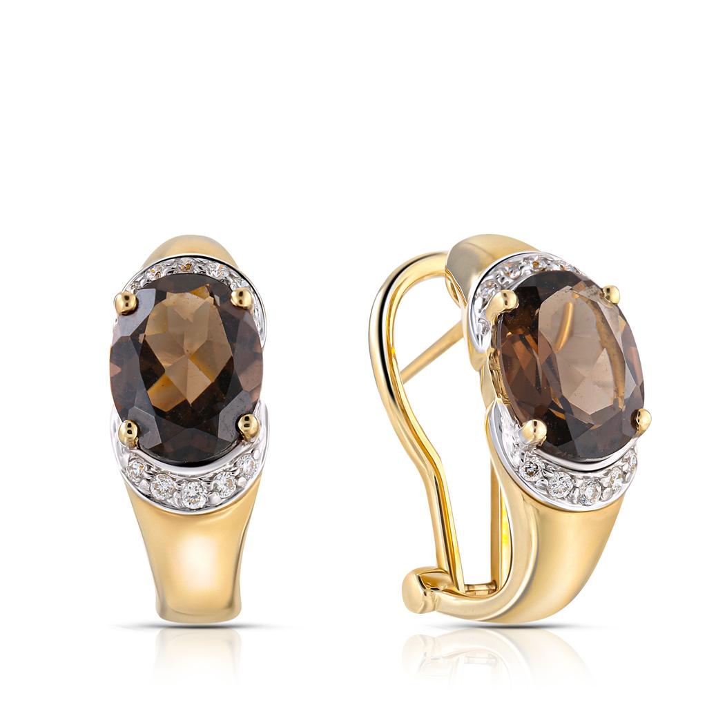 Купить со скидкой Серьги с французским замком из желтого золота с кварцем, бриллиантами мзE 34068